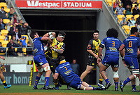 Alex Fidow is wrapped up during the Mitre 10 Cup rugby match between Wellington Lions and Otago at Westpac Stadium in Wellington, New Zealand on Sunday, 1 October 2017. Photo: Dave Lintott / lintottphoto.co.nz