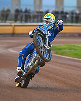 Erik Riss of King's Lynn Stars performs a wheelie during Poole Pirates vs King's Lynn Stars, SGB Premiership Shield Speedway at The Stadium on 11th April 2019