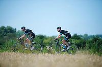 David Lopez (ESP/SKY) &amp; Bernie Eisel (AUT/SKY)<br /> <br /> 2014 Tour de France<br /> stage 4: Le Touquet-Paris-Plage/Lille M&eacute;tropole (163km)