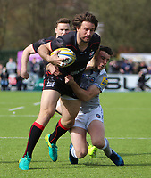Marcelo Bosch of Saracens in action with George Ford of Bath Rugby during the Aviva Premiership match between Saracens and Bath Rugby at Allianz Park, Hendon, England on 26 March 2017. Photo by Stewart  Wright  / PRiME Media Images.