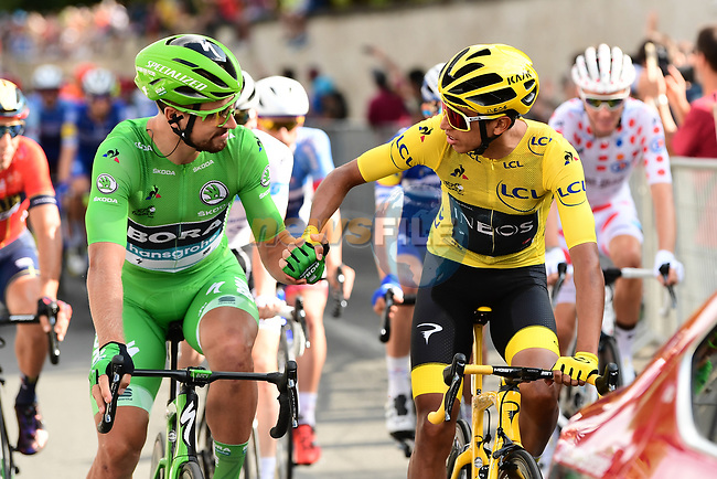 7 time Green Jersey winner Peter Sagab (SVK) Bora-Hansgrohe and Yellow Jersey winner Egan Bernal (COL) Team Ineos at the start of Stage 21 of the 2019 Tour de France running 128km from Rambouillet to Paris Champs-Elysees, France. 28th July 2019.<br /> Picture: ASO/Alex Broadway | Cyclefile<br /> All photos usage must carry mandatory copyright credit (© Cyclefile | ASO/Alex Broadway)