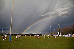 A double rainbow illuminates the Patumahoe rugby field as pre game rain clouds clear. Counties Manukau Premier Club Rugby game between Patumahoe & Karaka played at Patumahoe on Saturday June 13th 2009. Patumahoe lead 8 - 0 at halftime and went on to win 20 - 0.