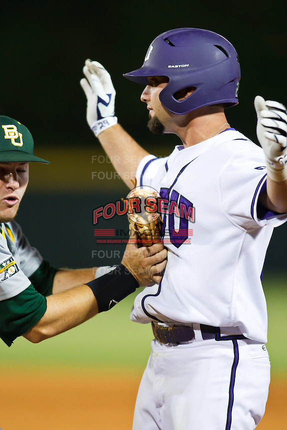 Aaron Schultz (29) tagged out April 27th, 2010; NCAA Baseball action, Baylor University Bears vs TCU Horned Frogs at Lupton Stadium in Fort Worth, Tx;  TCU won 5-4 in extra innings.