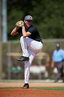 Evan Gray during the WWBA World Championship at the Roger Dean Complex on October 19, 2018 in Jupiter, Florida.  Evan Gray is a right handed pitcher from Swansea, Illinois who attends Belleville East High School and is committed to Arkansas.  (Mike Janes/Four Seam Images)