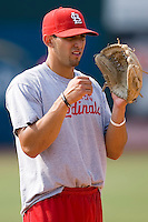 Alex Castellanos (5) of the Johnson City Cardinals during infield practice at Howard Johnson Field in Johnson City, TN, Thursday July 3, 2008.