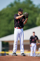 Batavia Muckdogs starting pitcher Chris Vallimont (32) gets ready to deliver a pitch during a game against the West Virginia Black Bears on July 1, 2018 at Dwyer Stadium in Batavia, New York.  Batavia defeated West Virginia 8-4.  (Mike Janes/Four Seam Images)