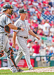 30 August 2015: Miami Marlins Manager Dan Jennings walks to the mound for a pitching change during a game against the Washington Nationals at Nationals Park in Washington, DC. The Nationals rallied to defeat the Marlins 7-4 in the third game of their 3-game weekend series. Mandatory Credit: Ed Wolfstein Photo *** RAW (NEF) Image File Available ***