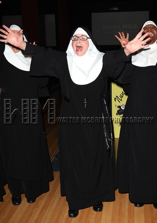 Cindy Williams and cast members performing a preview of 'Nunset Boulevard: The Nunsense Hollywood Bowl Show' at the Bowlmor Lanes Thursday, Sept. 27, 2012 in Times Square, New York.