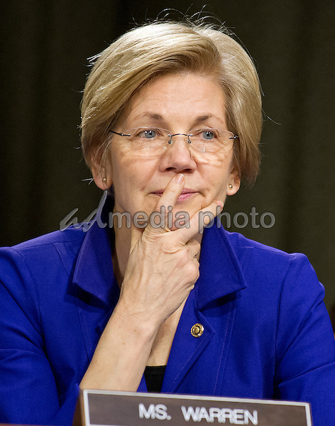 United States Senator Elizabeth Warren (Democrat of Massachusetts) listens as Janet L. Yellen, Chair, Board of Governors of the Federal Reserve System, testifies before the US Senate Committee on Banking, Housing, & Urban Affairs on ìThe Semiannual Monetary Policy Report to the Congress on Capitol Hill in Washington, DC on Tuesday, February 14, 2017. Photo Credit: Ron Sachs/CNP/AdMedia