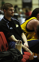 Dynamos import Eric Vierneisel with his bandaged ankle after the match during the NBL Round 9 match between the Wellington Saints and Nelson Giants at TSB Bank Arena, Wellington, New Zealand on Thursday 7 May 2009. Photo: Dave Lintott / lintottphoto.co.nz
