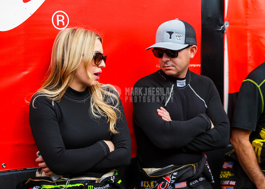 Feb 26, 2017; Chandler, AZ, USA; NHRA top fuel driver Brittany Force (left) and Steve Torrence during the Arizona Nationals at Wild Horse Pass Motorsports Park. Mandatory Credit: Mark J. Rebilas-USA TODAY Sports
