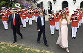 United States President Donald Trump , First Lady Melania Trump and son Barron Trump attend the annual Easter Egg Roll on the South Lawn of the White House  in Washington, DC, on April 17, 2017. <br /> Credit: Olivier Douliery / Pool via CNP