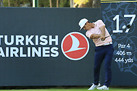 Thorbjorn Olesen (DEN) tees off the 17th tee during Friday's Round 2 of the 2018 Turkish Airlines Open hosted by Regnum Carya Golf &amp; Spa Resort, Antalya, Turkey. 2nd November 2018.<br /> Picture: Eoin Clarke | Golffile<br /> <br /> <br /> All photos usage must carry mandatory copyright credit (&copy; Golffile | Eoin Clarke)