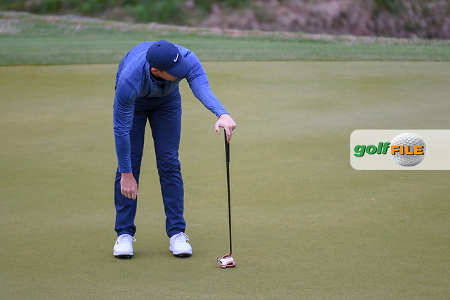 Rory McIlroy (NIR) reacts to barely missing his birdie putt on 3 during day 4 of the WGC Dell Match Play, at the Austin Country Club, Austin, Texas, USA. 3/30/2019.<br /> Picture: Golffile | Ken Murray<br /> <br /> <br /> All photo usage must carry mandatory copyright credit (© Golffile | Ken Murray)