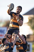 Tulele Masoe gets lineout ball with saasitance from Mitchell Thackham and Coree Te Whata-Colley. Counties Manukau Premier Club Rugby game between Bombay and Pukekohe, played at Bombay on Saturday June 30th 2018.<br /> Bombay won the game 24 - 14 after leading 24 - 0 at halftime.<br /> Bombay 24 - Sepuloni Taufa, Tulele Masoe, Chay Mackwood, Liam Daniela tries, Ki Anufe 2 conversions.<br /> Pukekohe Mitre 10 Mega 14 - Joshua Baverstock, Gregor Christie tries; Cody White 2 conversions.<br /> Photo by Richard Spranger.
