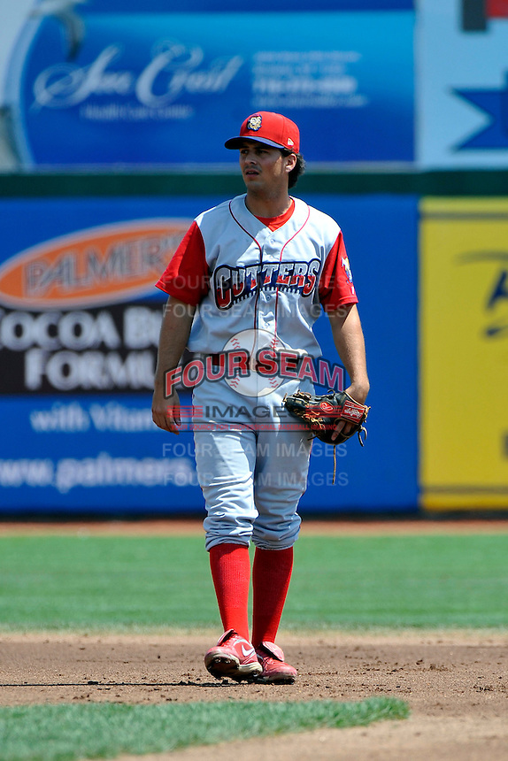 Williamsport Crosscutters shortstop Kenny Miramontes (31) during game against the Brooklyn Cyclones at MCU Park on August 3, 2011 in Brooklyn, NY.  Brooklyn defeated Williamsport 3-2.  Tomasso DeRosa/Four Seam Images