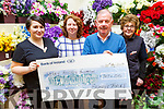 The staff at Michael Guineys present the sum of €747 to the Kerry Hospice Foundation on Monday at their store, from their Coffee morning/Fashion Show.<br /> L to r: Alison McGaley, Eileen O'Mahoney (Manager), Joe Hennebery (Kerry Hospice) and Ann Ahern.