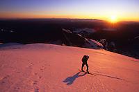 Sunrise on Emmons Glacier with Mt Baker and Glacier Peak in the backdrop. Mt Rainier, Washington, USA