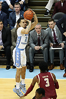 CHAPEL HILL, NC - FEBRUARY 1: Cole Anthony #2 of the University of North Carolina shoots a jump shot during a game between Boston College and North Carolina at Dean E. Smith Center on February 1, 2020 in Chapel Hill, North Carolina.