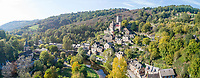 France, Aveyron, Belcastel, labelled Les Plus Beaux Villages de France (The Most Beautiful Villages of France), general view of the village with the castle (aerial view) // France, Aveyron (12), Belcastel, labellisé Les Plus Beaux Villages de France, vue générale du village avec le château (vue aérienne)