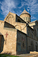 Close up picture &amp; image of the exterior and cupola of the Eastern Orthodox Georgian Svetitskhoveli Cathedral (Cathedral of the Living Pillar) , Mtskheta, Georgia (country). A UNESCO World Heritage Site.<br /> <br /> Currently the second largest church building in Georgia, Svetitskhoveli Cathedral is a masterpiece of Early Medieval architecture completed in 1029 by Georgian architect Arsukisdze on an earlier site dating back toi the 4th century.