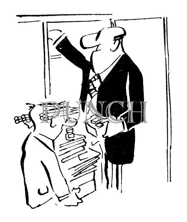 (A businessman overloads an office boy with office supplies)