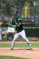 Oakland Athletics second baseman Alexander Campos (6) at bat during an Instructional League game against the Los Angeles Dodgers at Camelback Ranch on October 4, 2018 in Glendale, Arizona. (Zachary Lucy/Four Seam Images)
