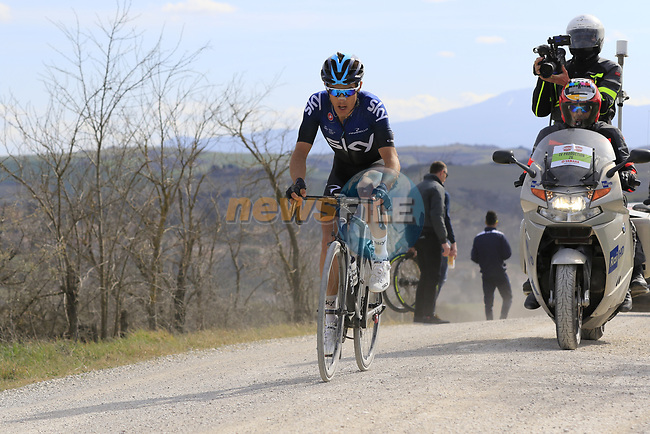 Diego Rosa (ITA) Team Sky out front alone on sector 8 Monte Santa Maria during Strade Bianche 2019 running 184km from Siena to Siena, held over the white gravel roads of Tuscany, Italy. 9th March 2019.<br /> Picture: Eoin Clarke | Cyclefile<br /> <br /> <br /> All photos usage must carry mandatory copyright credit (© Cyclefile | Eoin Clarke)