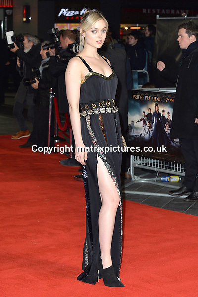 NON EXCLUSIVE PICTURE: MATRIXPICTURES.CO.UK<br /> PLEASE CREDIT ALL USES<br /> <br /> WORLD RIGHTS<br /> <br /> Australian actress Bella Heathcote attending the Pride And Prejudice And Zombies European Film Premiere, at Vue West End cinema in London.<br /> <br /> FEBRUARY 1st 2016<br /> <br /> REF: JWN 16273