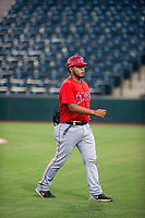AZL Angels Mario Sanjur (86) jogs off the field between innings of the game against the AZL White Sox on August 14, 2017 at Diablo Stadium in Tempe, Arizona. AZL Angels defeated the AZL White Sox 3-2. (Zachary Lucy/Four Seam Images)