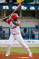 27 September 2009: Alfredo Despaigne of Cuba is seen at bat during the 2009 Baseball World Cup gold medal game won 10-5 by Team USA over Cuba, in Nettuno, Italy.
