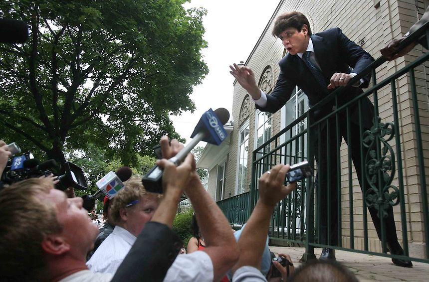 Former Gov. Rod Blagojevich returns to his home on the north side of Chicago after being convicted on 1 of 24 counts in his federal corruption trial. He said he was exonerated, then shook hands with his neighbors who seemed delighted with the outcome.