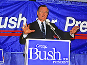 United States Vice President George H.W. Bush congratulates his campaign headquarters staff in Washington, D.C. following their victory in the New Hampshire Primary on February 17, 1988. <br /> Credit: Ron Sachs / CNP