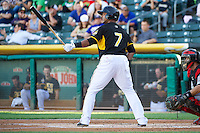 Luis Jimenez (7) of the Salt Lake Bees at bat against the Nashville Sounds in Pacific Coast League action at Smith's Ballpark on June 23, 2014 in Salt Lake City, Utah.  (Stephen Smith/Four Seam Images)