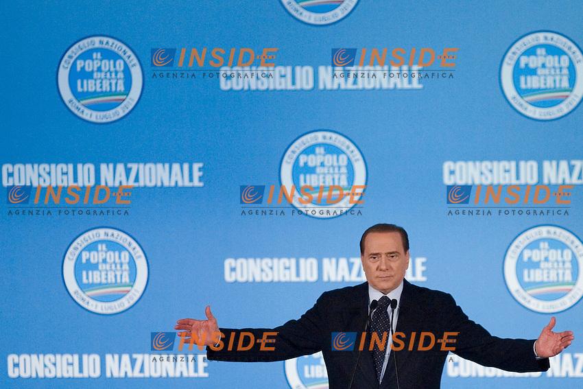 CONSIGLIO NAZIONALE DEL POPOLO DELLA LIBERTA ED ELEZIONE DEL NUOVO SEGRETARIO DEL PARTITO ANGELINO ALFANO...NELLA FOTO SILVIO BERLUSCONI..ROMA 1 LUGLIO  2011..PHOTO SERENA CREMASCHI INSIDEFOTO..............................