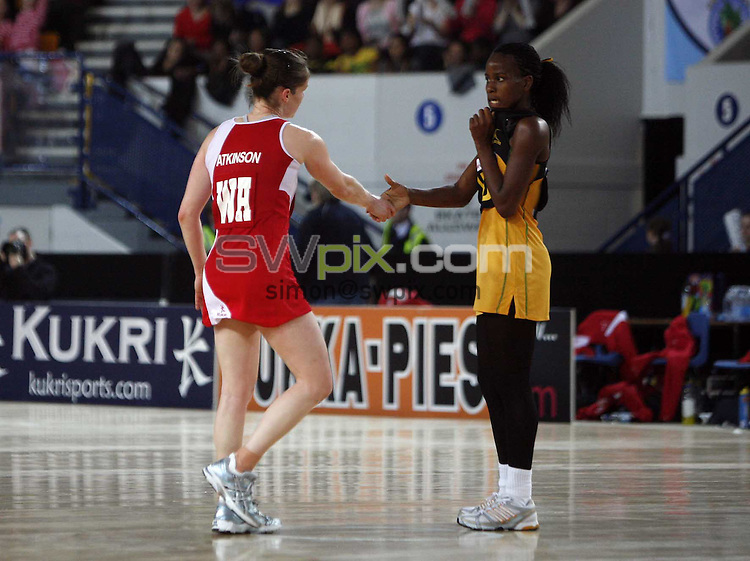 PICTURE BY Ben Duffy/SWPIX.COM - Netball - The Co-Operative International Series - England v Jamaica, Second Test - The Skydome arena, Coventry, England - 24/02/09...Copyright - Simon Wilkinson - 07811267706...England's Karen Atkinson shakes hands at the end of the game