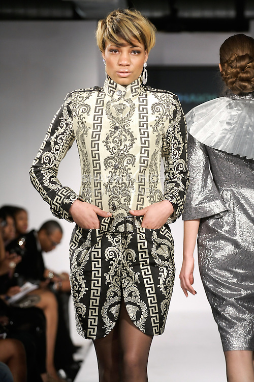 Model walks runway in an outfit from the Nur-Shah Fall Winter The Princess of China collection by Nurjamal Nurpeisova, during BK Fashion Weekend Fall Winter 2012.