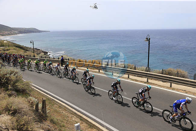 approach Castelsardo along the Costa Smeralda during Stage 1 of the 100th edition of the Giro d'Italia 2017, running 206km from Alghero to Olbia, Sardinia, Italy. 4th May 2017.<br /> Picture: Eoin Clarke | Cyclefile<br /> <br /> <br /> All photos usage must carry mandatory copyright credit (&copy; Cyclefile | Eoin Clarke)<br /> <br /> All photos usage must carry mandatory copyright credit (&copy; Cyclefile | LaPresse)