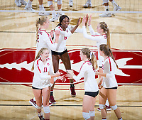 STANFORD, CA - October 12, 2018: Tami Alade, Kathryn Plummer, Jenna Gray, Kate Formico, Meghan McClure, Sidney Wilson at Maples Pavilion. No. 2 Stanford Cardinal swept No. 21 Washington State Cougars, 25-15, 30-28, 25-12.