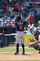 Erison Mendez (9) of the Rome Braves at bat against the Asheville Tourists at McCormick Field on July 26, 2015 in Asheville, North Carolina.  The Tourists defeated the Braves 16-4.  (Brian Westerholt/Four Seam Images)