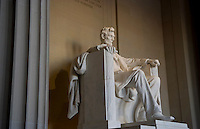 Inside famous Lincoln Monument building with statue of Lincoln in Washington, DC USA