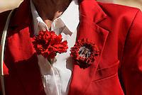 """Empfang der Bruderschaft """"Paso Enacarnado"""" während der Semana Santa (Karwoche) vor dem Rathaus in Lorca,  Provinz Murcia, Spanien, Europa"""