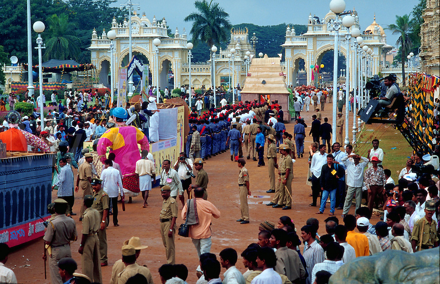 A parade at an Indian Dasara festival. Mysore, India.