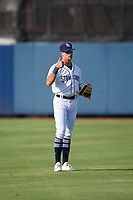 Charlotte Stone Crabs center fielder Josh Lowe (28) during warmups before a game against the Dunedin Blue Jays on June 5, 2018 at Charlotte Sports Park in Port Charlotte, Florida.  Dunedin defeated Charlotte 9-5.  (Mike Janes/Four Seam Images)
