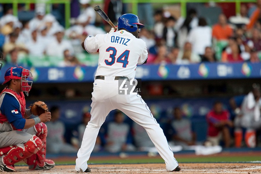 8 March 2009: #34# David Ortiz of Dominican Republic is seen at bat during the 2009 World Baseball Classic Pool D match at Hiram Bithorn Stadium in San Juan, Puerto Rico. Dominican Republic wins 9-0 over Panama.