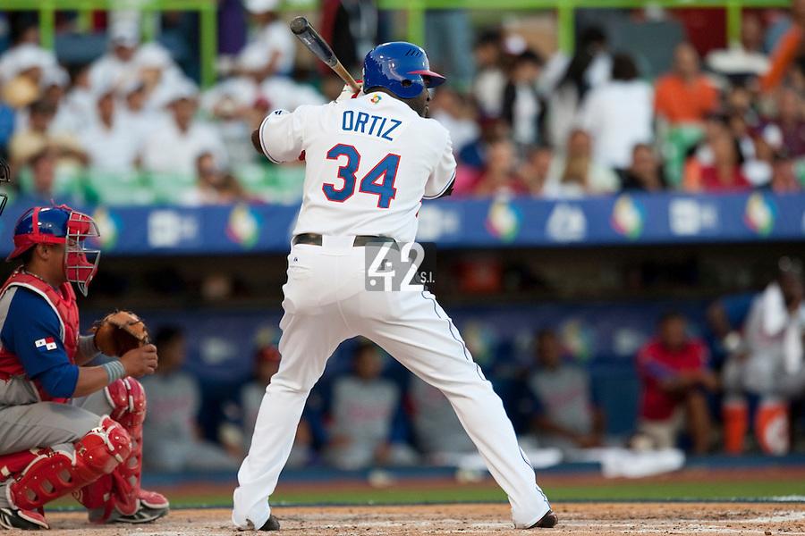8 March 2009: #34# David Ortiz of Dominican Republic is seen at bat during the 2009 World Baseball Classic Pool D match at Hiram Bithorn Stadium in San Juan, Puerto Rico. Dominican Republic wins 9-0 over Panama.