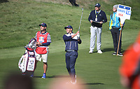 Brooks Koepka (Team USA) on the 17th during Saturday's Fourballs, at the Ryder Cup, Le Golf National, Île-de-France, France. 29/09/2018.<br /> Picture David Lloyd / Golffile.ie<br /> <br /> All photo usage must carry mandatory copyright credit (© Golffile | David Lloyd)