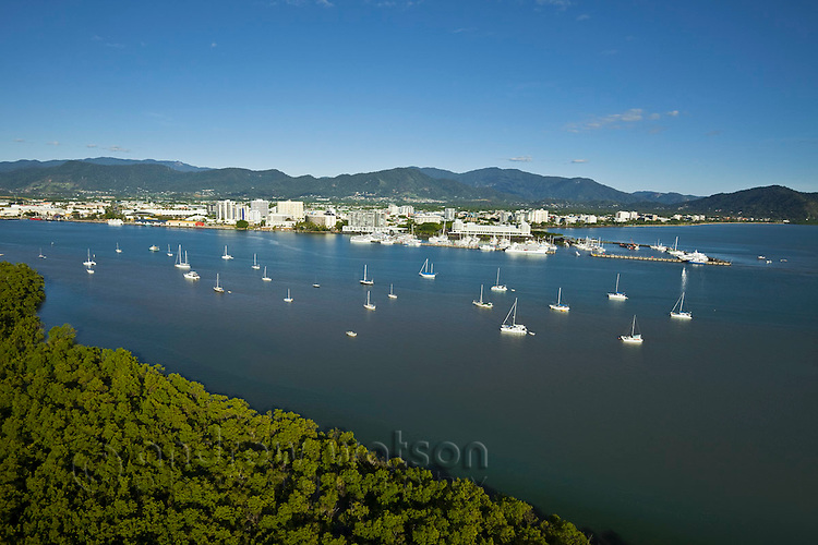 Yachts on Trinity Inlet with city centre in background.  Cairns, Queensland, Australia