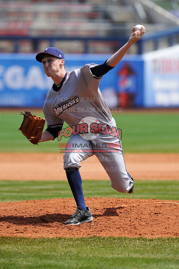 Northwest Arkansas Naturals Matt Strahm (25) throws during the game against the Tulsa Drillers at Oneok Stadium on May 1, 2016 in Tulsa, Oklahoma.  Northwest Arkansas won 7-5.  (Dennis Hubbard/Four Seam Images)