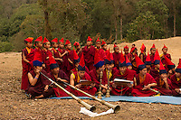 Buddhist Monks in a Losar ceremony, Sikkim, India